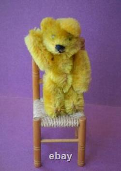 SCHUCO JOINTED MINIATURE MOHAIR PICCOLO TEDDY BEAR'CHAS' VINTAGE 1950s 2 3/4
