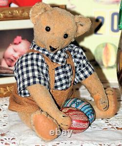 So sweet 12 German humpback blond mohair Steiff Teddy w. Blank button 1905