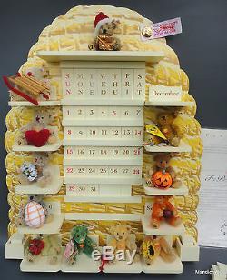 Steiff 12 Mini Teddy Bear Mohair Plush Perpetual Calendar Wood Beehive LE 2001