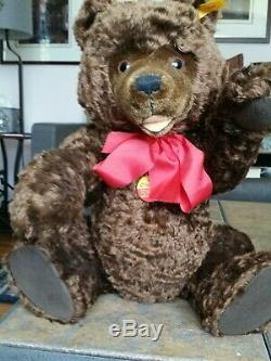Steiff 18.25 Brown Mohair Open Mouth Smiling Happy Teddy Bear 008542 Growler