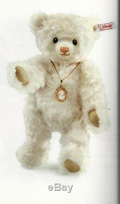 Steiff Carlotta Teddy Bear Ean 034763 Smoky White Mohair -wearing Genuine Cameo