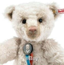 Steiff GREAT AMERICAN BEAR Teddy Roosevelt 13.75 Mohair 2019 withGrowler 683619