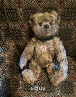 Steiff Jeremy Teddy Bear Ean 035180 Silver/green Tipped Mohair, Growler