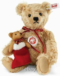Steiff LENARD Christmas TEDDY BEAR WITH Mini Teddy In Boot Mohair 9.8 (25cm)