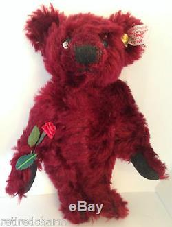 Steiff MINI DEW DROP ROSE Teddy Bear 666384 MOHAIR 6 16cm EUC Precious