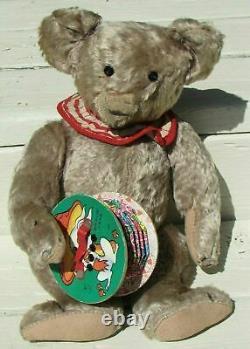 Steiff Teddy Bear Yellow Blonde Mohair Metal Blank Ear Button 12 Adorable Toy