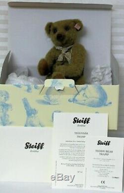 Steiff Tramp Teddy Bear 034367 Olive Green Mohair LE 64/1500 Squeaker New COA