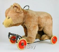 Steiff -bear On Wheels- Large Vintage Brown Beige Mohair Grizzly Ride On Teddy