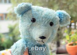 Stunning 24 German rare blue mohair teddy bear with growler 1930's Petz