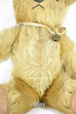 Superb ANTIQUE 1920s GOLD Mohair No Button STEIFF Toy Jointed TEDDY BEAR withBELL