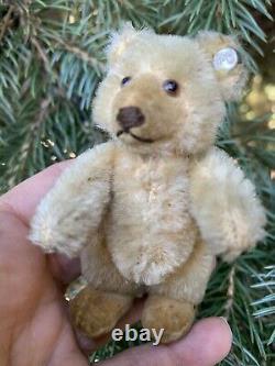 Sweet VINTAGE Miniature Steiff Teddy Baby Bear With ID Beige Mohair 3.5 MUST SEE