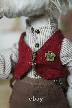 Teddy Handmade Interior Toy Collectable Gift Animal Doll OOAK Hedgehog Hobbit