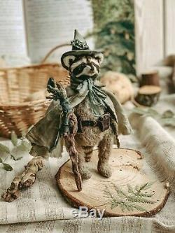 Teddy Handmade Toy Collectable Gift Animal Doll OOAK Raccoon Wizard Mage Druid
