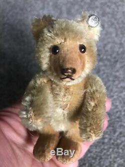 VINTAGE Miniature Steiff Mohair Teddy Baby Bear Beige Mohair 3.5 Stands Too NR