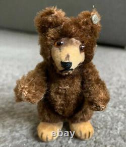 VINTAGE Miniature Steiff Mohair Teddy Baby Bear Dk Brown Mohair 3.5 Stands Too
