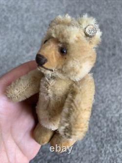 VINTAGE Miniature Steiff Mohair Teddy Baby Bear Honey Brown Mohair 3 With Button