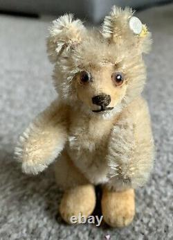 VINTAGE Miniature Steiff Teddy Baby Bear With ID Beige Mohair 3.5 Stands Too