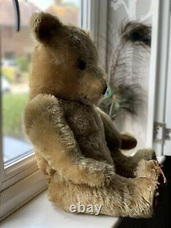 VINTAGE RARE 1950s TEDDY BEAR CHAD VALLEY LARGE 26 INCH GOLDEN BROWN MOHAIR FUR