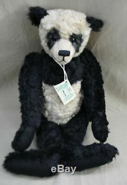 VINTAGE RARE HEIDI STEINER HUMPHREY BLACK & CREAME MOHAIR TEDDY BEAR 27 WithTAG