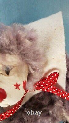 VTG Artist Teddy Bear Lulu Tatum Circus Clown Leather Face Purple Mohair Fangs
