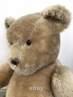 Very Large Antique Vintage Chiltern Mohair Jointed Teddy Bear With Label 36 VGC