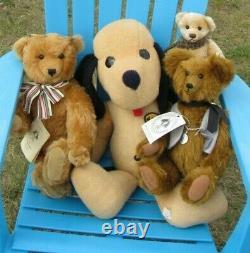 Vintage 16 Mohair Rare Teddy Bear Carrousel Michaud Ned Artist Signed Medallion
