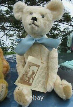 Vintage 17 Mohair Rare White Teddy Bear Carrousel Michaud Just Ted Artist Signd