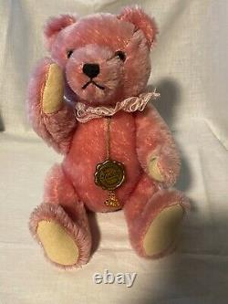Vintage Hermann Original Teddy 12 Pink Jointed Mohair Clean Excellent Condition