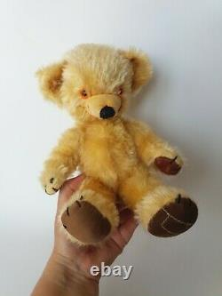 Vintage Merrythought 1950s Cheeky Teddy Bear Golden Mohair, Bell in Ear, 11inch