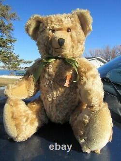 Vintage Mohair Teddy Bear Big 20 Growler Raby Rauenstein Tag Made Germany Rare