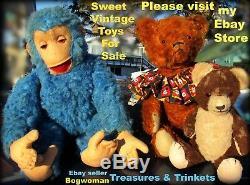 Vintage Mohair Teddy Bear Pretty Red Sienna Brown 14 Knickerbocker Gund Antique