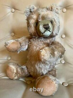 Vintage Steiff Mohair Teddy Bear with Button 16 Tall