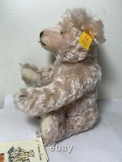 Vintage Steiff Teddy Bear Classic 1907 Mohair Jointed Limbs Pink 000263 with tags