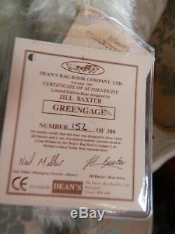 Vintage Teddy Bear Deans Jill Baxter Mohair Ltd Ed Greengage Certificate 16