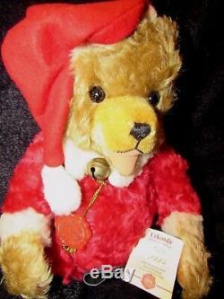 Vintage Teddy Bear Hermann 15 Rare Red Mohair Christmas Santa W Tags German Toy