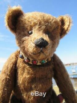 Vintage Teddy Bear Mohair Gemstone Collar 12 Artist Tag Mariel Making Memories