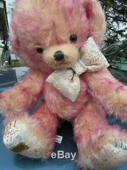 Vintage Teddy Bear Pink Mohair Cheeky Merrythought England Rare Tags Bells Ears
