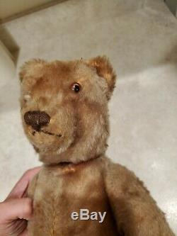 Vintage Very Early Steiff Teddy Bear Mohair Jointed 13 Inches