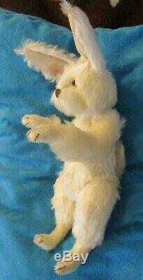 Vintage White Mohair Easter Bunny Ooak Artist Fain Jointd Rabbit 14 Teddy Bear