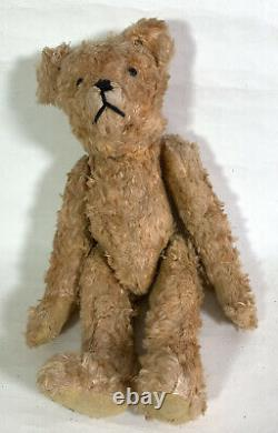Wood Wool Orange Silky Mohair Antique Teddy Bear Jointed Long Arms Hump Back